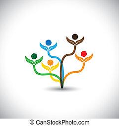 家族, eco, -, concept., 木, ベクトル, チームワーク, アイコン
