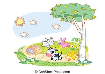 家畜, 庭, 遊び
