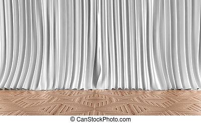 家, カーテン, 寄せ木張りの床, 床材, バックグラウンド。