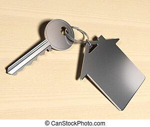 家, シンボル, キー, 上に, 木製である, real-este, keyring, 背景