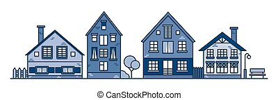 家, スタイル, 通り。, イラスト, town., suburban., 伝統的である, 古い, 近所, ベクトル, ヨーロッパ