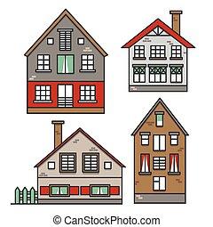 家, スタイル, 通り。, town., セット, イラスト, suburban., 伝統的である, 古い, 近所, カラフルである, ベクトル, ヨーロッパ