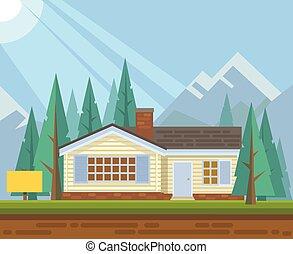 家, セール, 森林