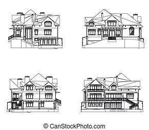 家, ベクトル, セット, イラスト, facade.