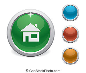 家, ボタン, プラスチック