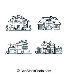 家, 住宅の, 薄いライン, アイコン