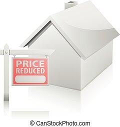 家, 価格, 減らされる, 印