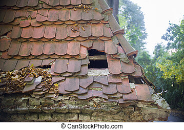 家, 倒れられる, 古い, 屋根