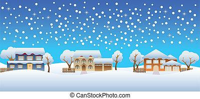 家, 冬, 雪