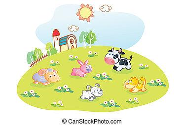 家, 動物, 庭, 漫画