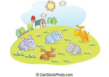 家, 動物, 庭, 若い