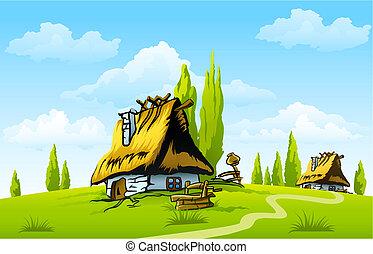 家, 古い, 風景, 村