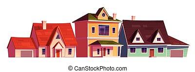 家, 外面, 地区, 住宅の, 郊外