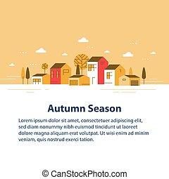 家, 季節, 小さい, 横列, ごく小さい, 町, 光景, 近所, 秋, 村, 美しい, 住宅の
