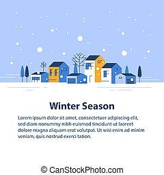 家, 季節, 小さい, 横列, ごく小さい, 雪が多い, 空, 冬, 町, 光景, 近所, 村, 美しい, 住宅の