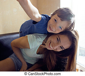 家, 幸せ, 息子, 家族, 母