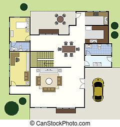家, 建築, floorplan, 計画