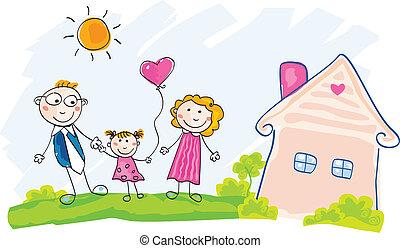 家, 引っ越し, 家族, 新しい