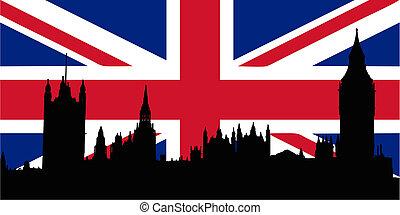 家, 旗, イギリス, parliamen