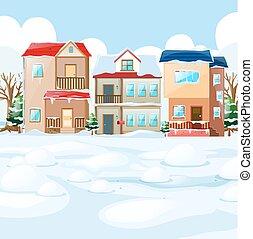 家, 村, 雪 場面
