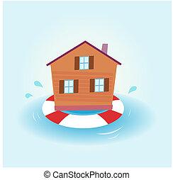 家, 浮かんで留まる, -, 洪水