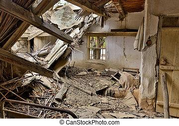 家, 浮浪者, 倒れられる, 屋根