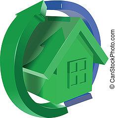 家, 矢, 緑