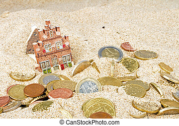 家, 砂, コイン, 姿を消す, ユーロ