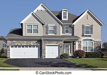 家, 自動車, 石, 3, ガレージ