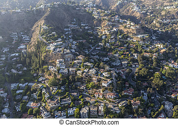 家, 航空写真, 丘, 山腹, ハリウッド, スモッグ