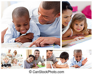 家, 親, 子供, 教育, コラージュ