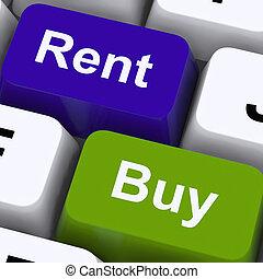 家, 賃貸料, 提示, キー, 買い物, 家