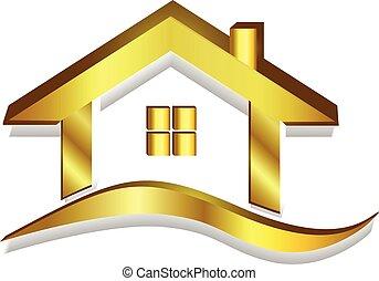 家, 金, ロゴ, ベクトル, 3d