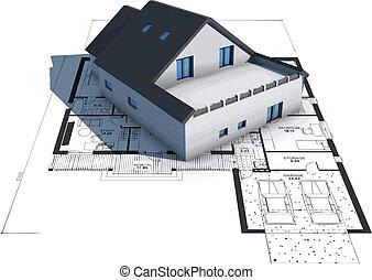 家, 青写真, モデル, 上, 建築