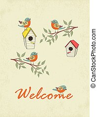 家, 鳥, カード