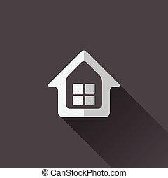 家, icon., デザイン, 平ら