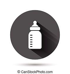 容器, イラスト, ガラス, 飲みなさい, アイコン, 赤ん坊, 黒, 影, concept., 長い間, ビジネス, 平ら, ベクトル, びん, ミルク, style., effect., 円, ラウンド, 背景, ボタン