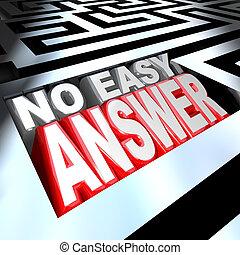 容易である, いいえ, 解決しなさい, 言葉, 答え, 迷路, 問題, 勝ちなさい, 3d