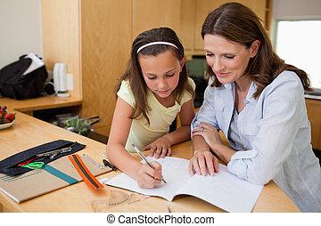 宿題, 女の子, 彼女, 母