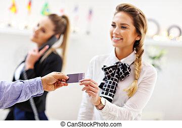 寄付, キー, ホテル, 受付係, カード