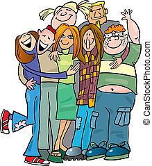 寄付, 学校, 抱擁, グループ, 十代の若者たち
