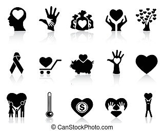寄付, 慈善, 黒, アイコン
