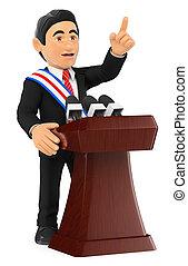 寄付, 3d, 政治家, investiture., スピーチ, 大統領