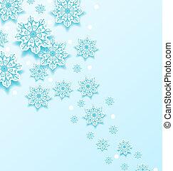 寒い, クリスマス, 背景, 雪片