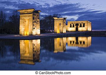 寺院, エジプト人, 反射, 夜