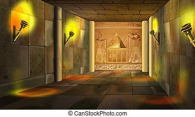 寺院, 内部, エジプト人, 古代, 1