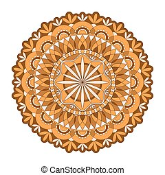 対称である, ornament., オレンジ, mandala, vector., ラウンド