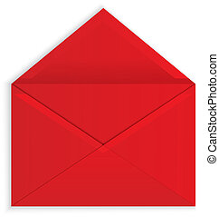 封筒, ベクトル, 開いた, 赤