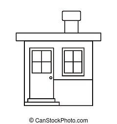 小さい家, シルエット, 煙突, モノクローム