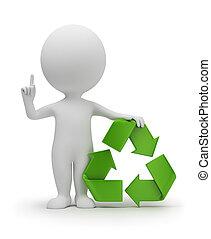 小さい, シンボル, リサイクル, 3d, 人々